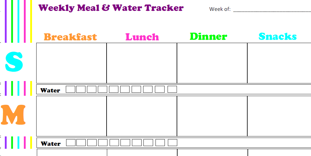 photograph about Meal Tracker Printable named Weekly Dinner and H2o Tracker Printable Match In just Physical fitness